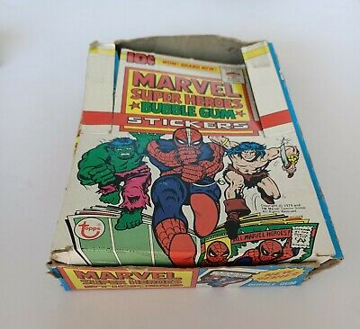 Marvel Super Heroes Bubble Gum Stickers box- Topps 1976 empty box 10c American