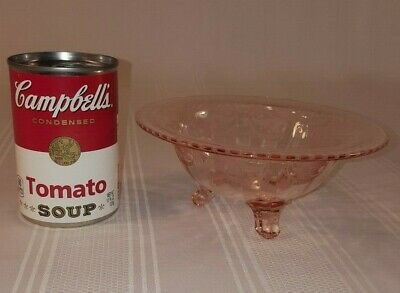 Vintage Etched Pink Depression Glass Small Footed Bowl or Candy Dish