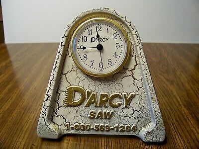 D'Arcy Saw Bronze Alloy Advertising Counter Desk Clock Very Heavy 11/27/95 Darcy