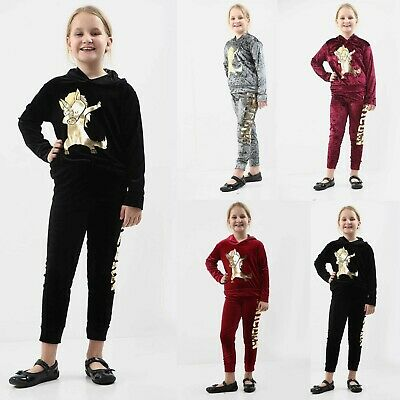 Kids Girls Velour Hooded Unicorn Dab Tracksuit Top&Bottom Set Velvet Lounge Wear