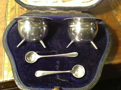 Antique Mappin & Webb Silver Salts  Sheffield 1906 with spoons  Cased.