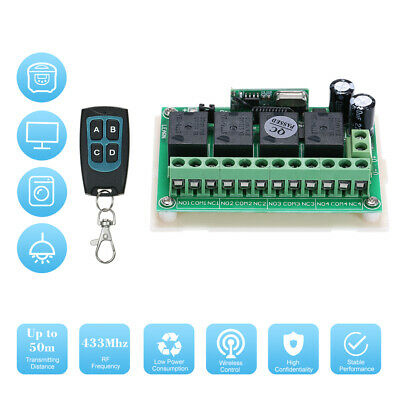 DC 12V 4CH Channel 433Mhz Wireless RF Switch Long Range Wireless Remote P9V8
