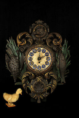 Superb and antique French cast-iron clock, hunting and fishing c.1900