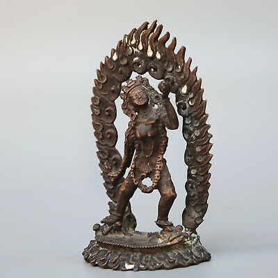 China Collectable Old Copper Handwork Carved Fire Eva Exorcism Auspicious Statue