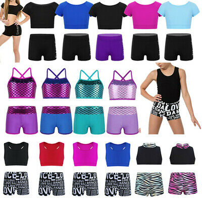 Girls 2-Piece Ballet Jazz Dance Outfits Kids Gymnastics Sports Crop Tops+Shorts