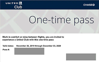Two (2) UA United Club Lounge One-Time Passes, EXPIRE December 3, 2020