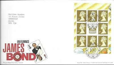 GB FDC 2008 James Bond booklet pane, combined postage