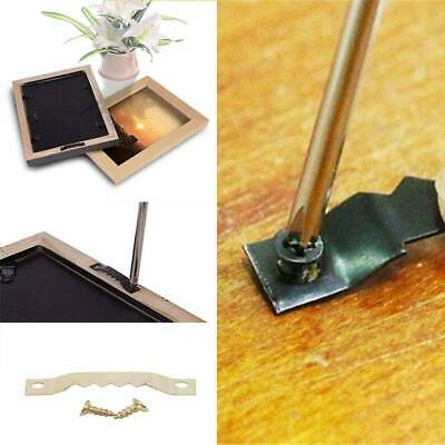 100PCS Gold Black Saw Tooth Hangers Hooks Picture Frame Hanging With Screws 6A