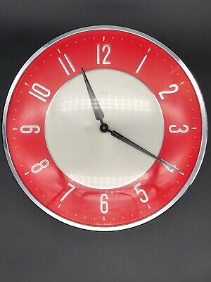 Vintage Retro Very Rare Metamec 50s 60s Kitchen Red Wind-Up Wall Clock