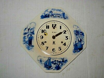 Vintage Miller 8 Day Delft Ornate Ceramic Plate Wall Clock Hand Missing/No Key