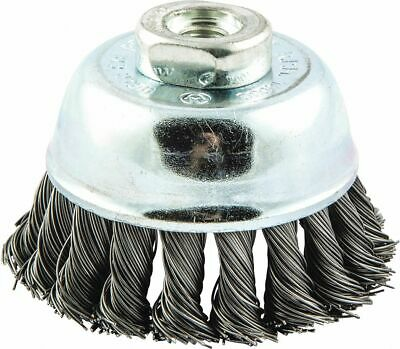"3"" Knotted Wire Cup Brush, Arbor Hole Mounting, 0.020"" Wire Dia. 3/4"" Bristle"
