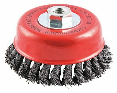 "5"" Knotted Wire Cup Brush, Arbor Hole Mounting, 0.020"" Wire Dia. 1"" Bristle Trim"