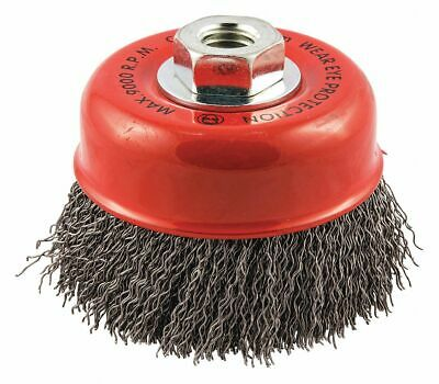 """4"""" Crimped Wire Cup Brush, Arbor Hole Mounting, 0.020"""" Wire Dia. 1-1/8"""" Bristle"""