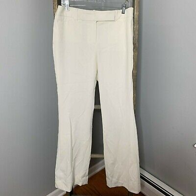 White House Black Market Cream Flare Leg Pants Sz 10 NWT WOmens Stretch Cocktail