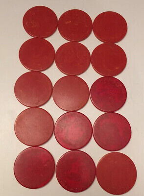 Lot Of 15 Red Catalin Bakelite Vintage Art Deco Poker Chips.