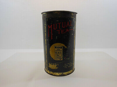 Tin Mutual Tea 2 LB The House Stands Behind The Packet 2 LB Vintage Antique Aust