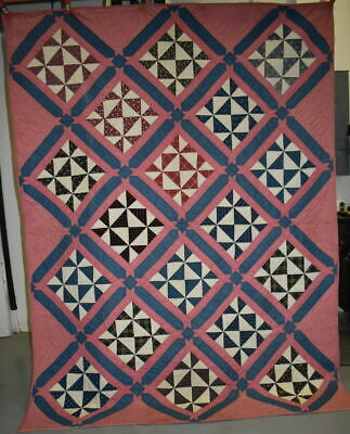 "Unusual ""Pinwheels"" Antique Quilt, Pink, Blue and Multi Color, Twin Size, #18675"