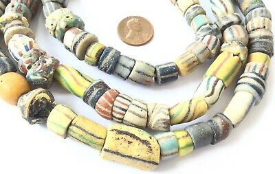 Amazing Strand Antique Krobo Powder Glass African Trade Beads-Ghana Collectible