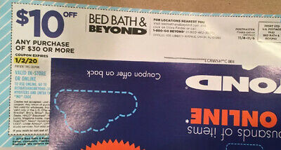 Bed Bath & Beyond Coupon $10 off $30 purchase Exp 1-2-2020 Online Or In-Store