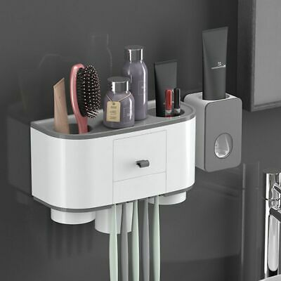 Bathroom Wall Mounted Toothbrush Holder with Cups+Automatic Toothpaste Dispenser