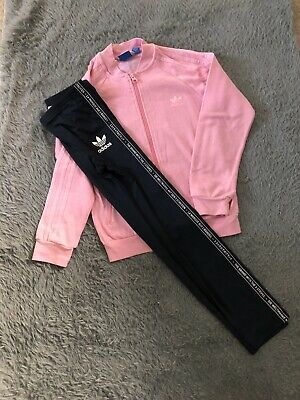 Adidas Full Zip Sweat Top With Leggins Girls Age 9-10