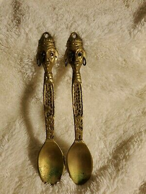 Antique/Vtg Solid Brass Ornate Serving Spoon Set Wall Hangings