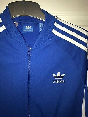 blue genuine 3 stripe ADIDAS tracksuit zip top. 13-14yrs great condition LOOK