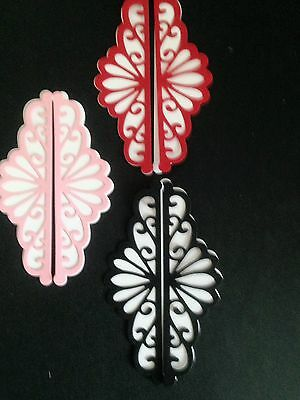 12 Lacy Fancy Scroll Die Cuts - Red, White, Black & Pink