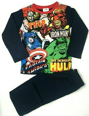 BNWT Boys Kids Marvel  Comics Avengers Hulk Thor Navy Full length Pyjamas Pjs