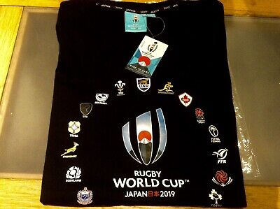 Rugby World Cup Japan 2019 T-shirt 20 Nations Black Brand New 3-4 Years