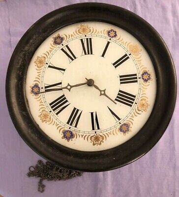 Antique Black Forest Postman's Clock, Reverse Painted Glass Face for restoration