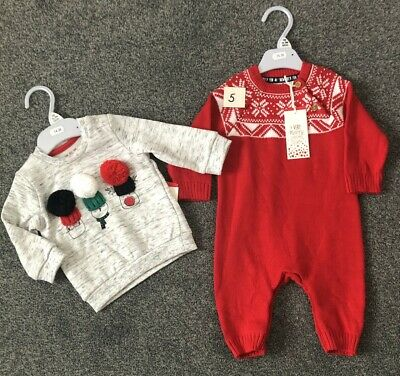 Christmas Clothing Bundle Up to 3 months,  Knitted All in one, Snowman Top, BNWT