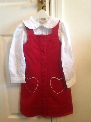 Christmas outfit Girls red H&M pinafore dress Age 5-6 with white Next blouse