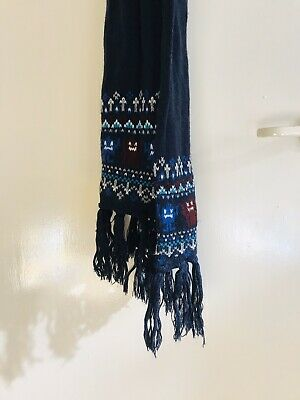 Kids Boy's Navy Blue Knit Scarf Robots Monsters Minecraft Fairisle