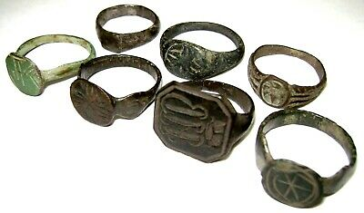 Ancient medieval lot of 7 pcs bronze finger Rings.