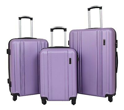 Hard Shell ABS 4 Wheel Spinner Suitcase Travel Luggage Lightweight Purple NEW