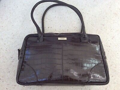Osprey Large Mock Croc Hand or Shoulder Bag Dark Brown Faux Patent Leather