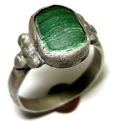 Ancient Medieval silver finger ring with green stone.