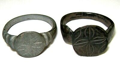 Ancient Medieval Lot of 2 bronze finger rings with ornament.
