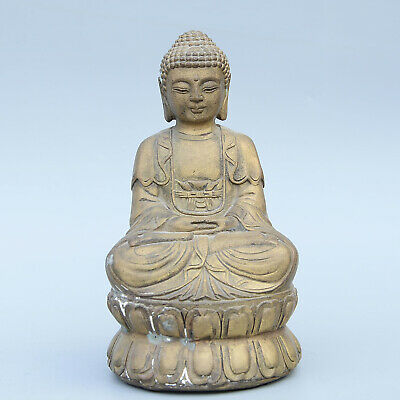 Qianlong Years Collectable China Old Copper Carved Buddha Auspicious Old Statue