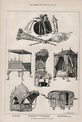 OLD ANTIQUE 1876 PRINT THE PRINCE OF WALES INDIAN GIFTS COLLECTION b77