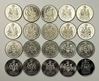 Canada 1968 - 2002 Set of 50 Cents 20 Different Coins Collection Lot