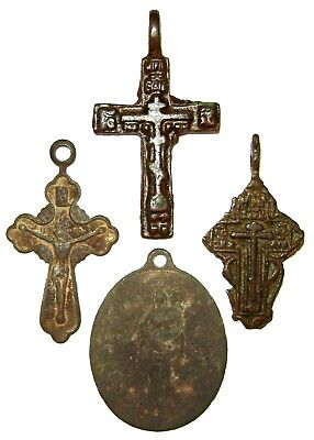 Ancient lot of 4 bronze pectoral Believer crosses Middle Ages.