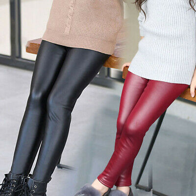 Kids Girl Autumn Winter Leggings Long Faux Leather Trousers Solid Casual Pants