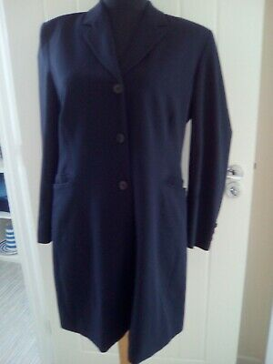 Ladies Marks  And Spencer Navy  Long Suit Jacket Size 14 Petite