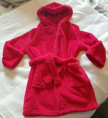 Boys Red Supersoft Red Hooded Dressing Gown 2-3yrs