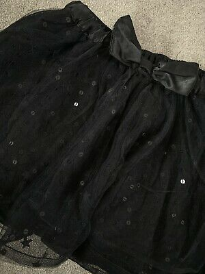 Girls Black Tutu Christmas Party Sparkly Black Sequins Skirt Age 4-5 Years Party