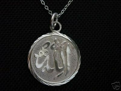 LOOK Allah God Islamic religious Jewelry Arabic charm Mecca Sterling silver Jewe