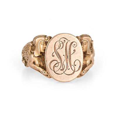 Antique Deco Egyptian Revival Signet Ring Sphinx Man Lion 14k Gold 10.5 Mens