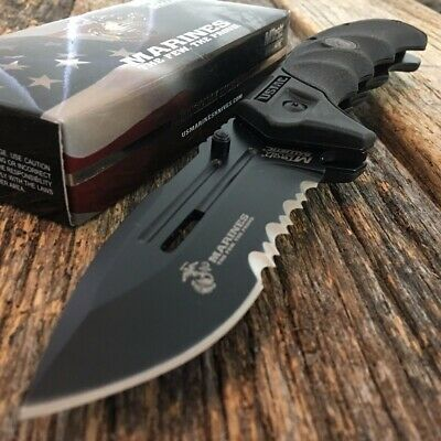 MTECH USMC MARINES Spring Assisted Open Tactical Rescue Folding POCKET KNIFE c